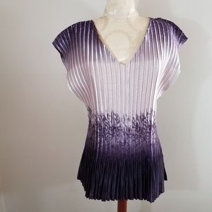 Dressbarn Shades of Violet Accordion Top 2x